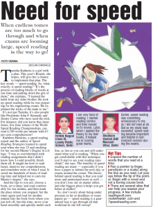 Speed Reading Article published in the Deccan Chronicle